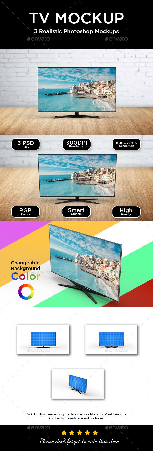 TV Screen Mockup - Monitors Displays