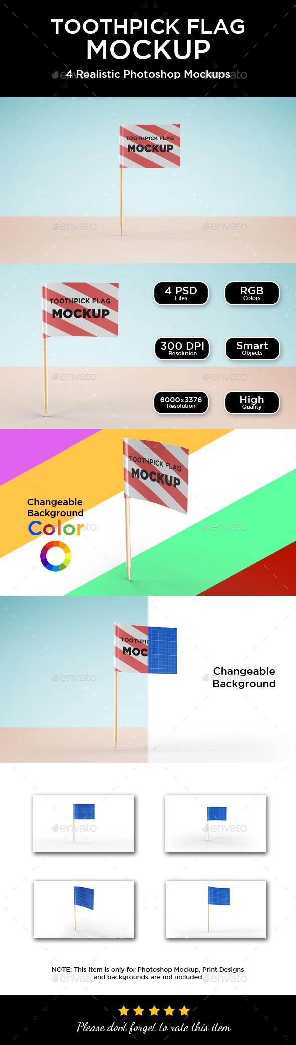 Toothpick Flag Mockup - Logo Product Mock-Ups