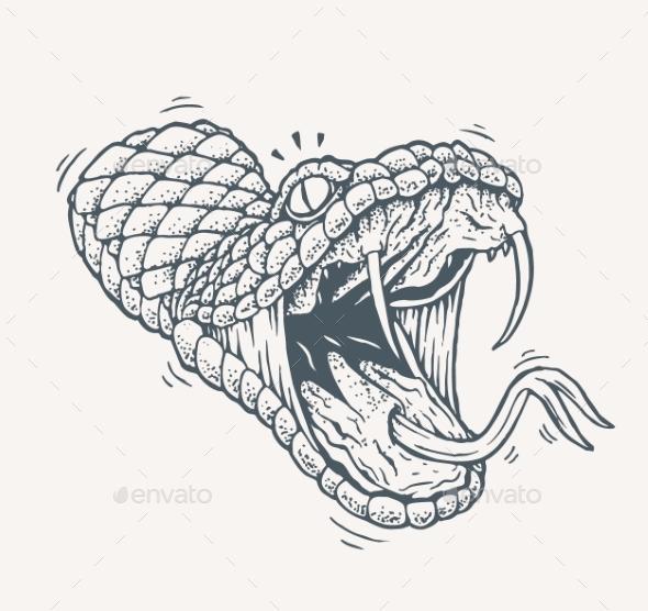 Venomous Snake Tattoo - Animals Characters