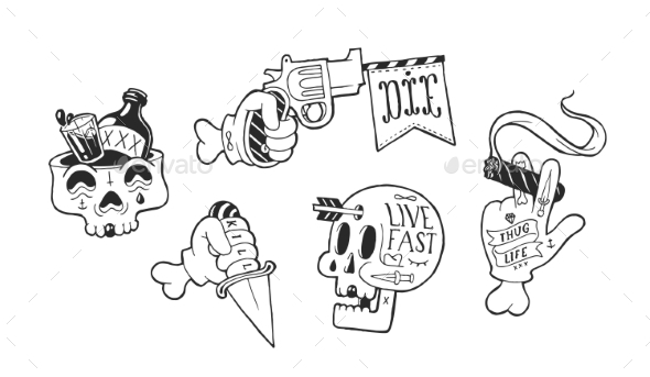 Strange Skater Stickers - Miscellaneous Vectors