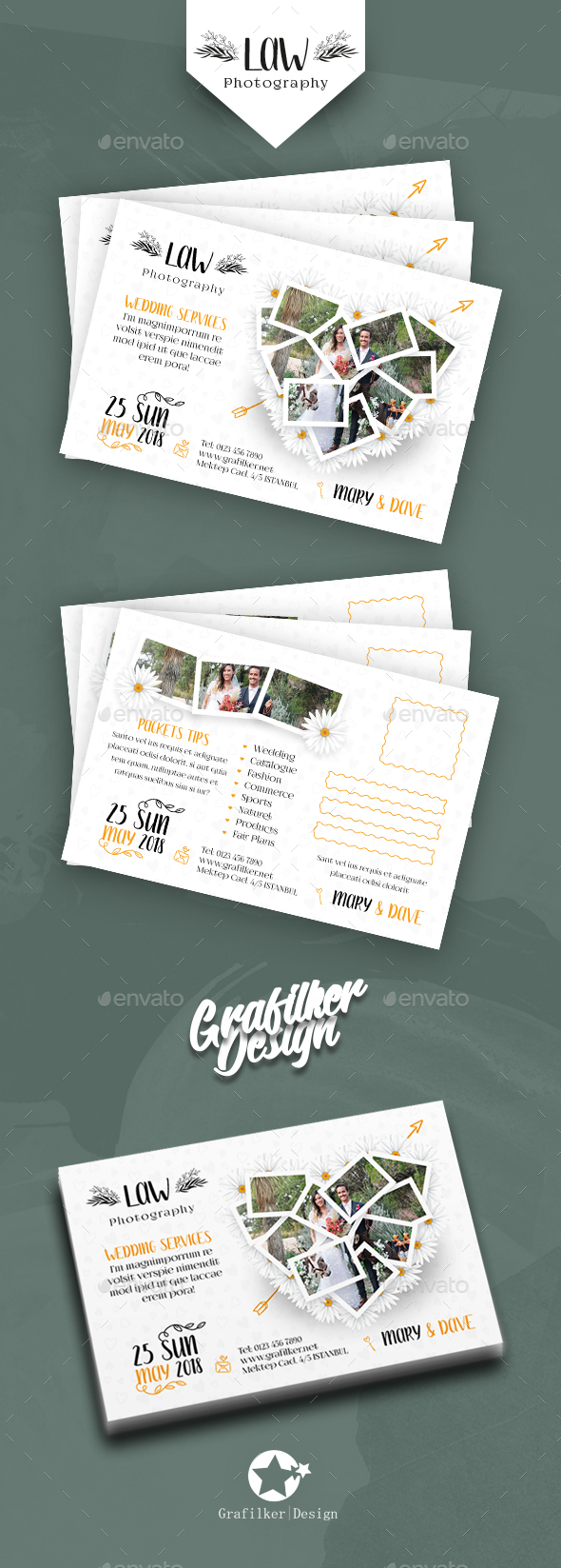 Wedding Postcard Templates - Cards & Invites Print Templates