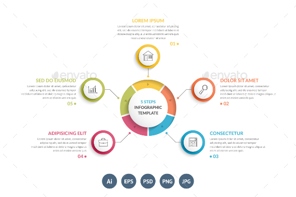 Circle Infographics with Five Elements - Infographics