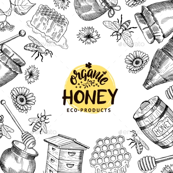 Vector Background with Sketched Honey Elements - Miscellaneous Vectors
