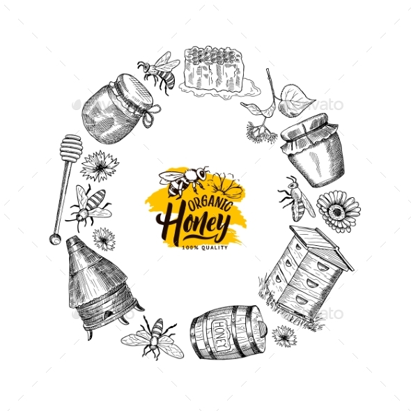 Vector Hand Drawn Honey Elements in Circle Form - Miscellaneous Vectors