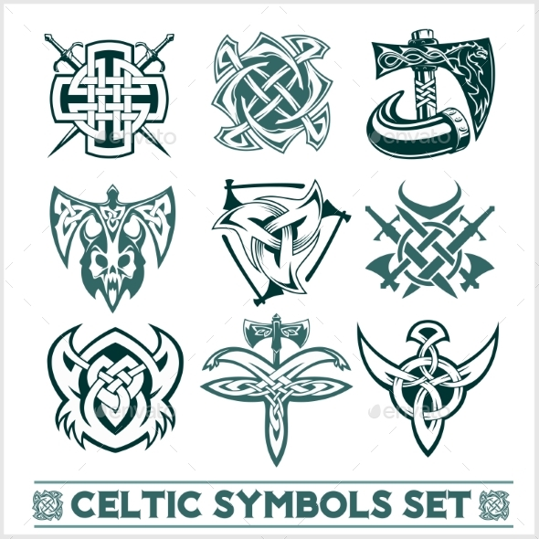 Set Of Celtic Symbols Icons Vector By Digital Clipart Graphicriver