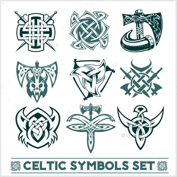 Set of Celtic Symbols Icons Vector - Decorative Symbols Decorative