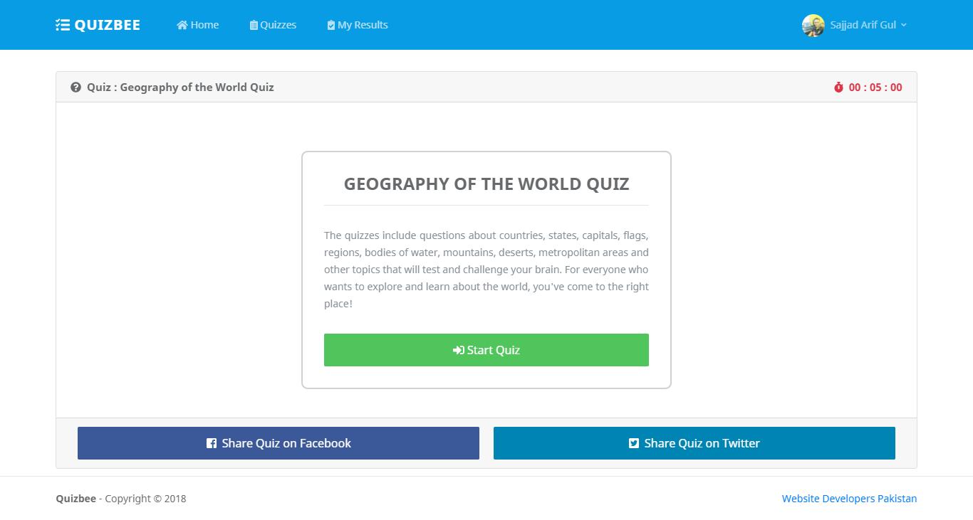 Online Quiz Application in C# ASP  Net MVC
