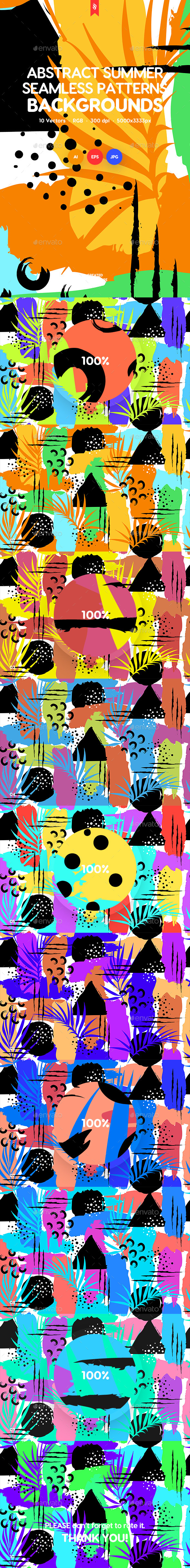 Abstract Summer Seamless Patterns / Backgrounds - Backgrounds Graphics