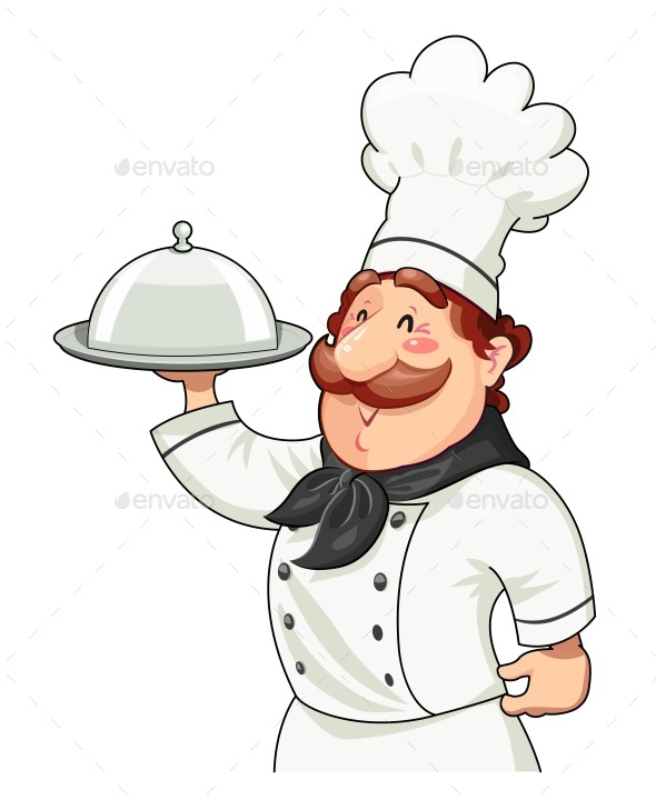 Cook with Tray for Food and Lid - People Characters