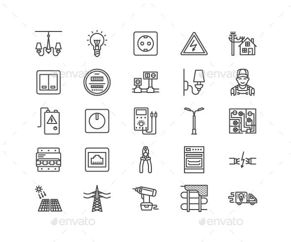Electricity Line Icons - Technology Icons