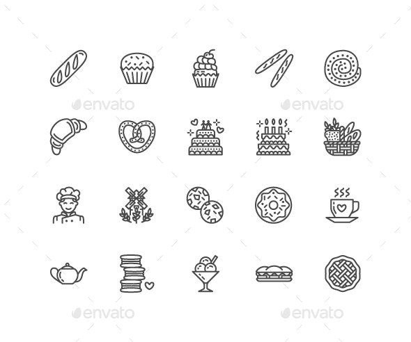 Bakery, Bread House Line Icons - Food Objects