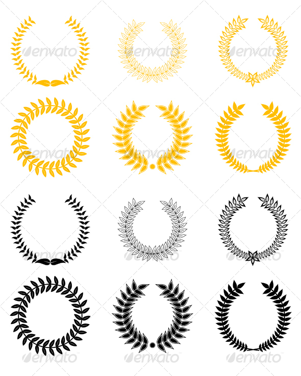 Set 2 of  laurel wreaths - Decorative Vectors