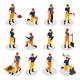 Isometric Mining Characters Set