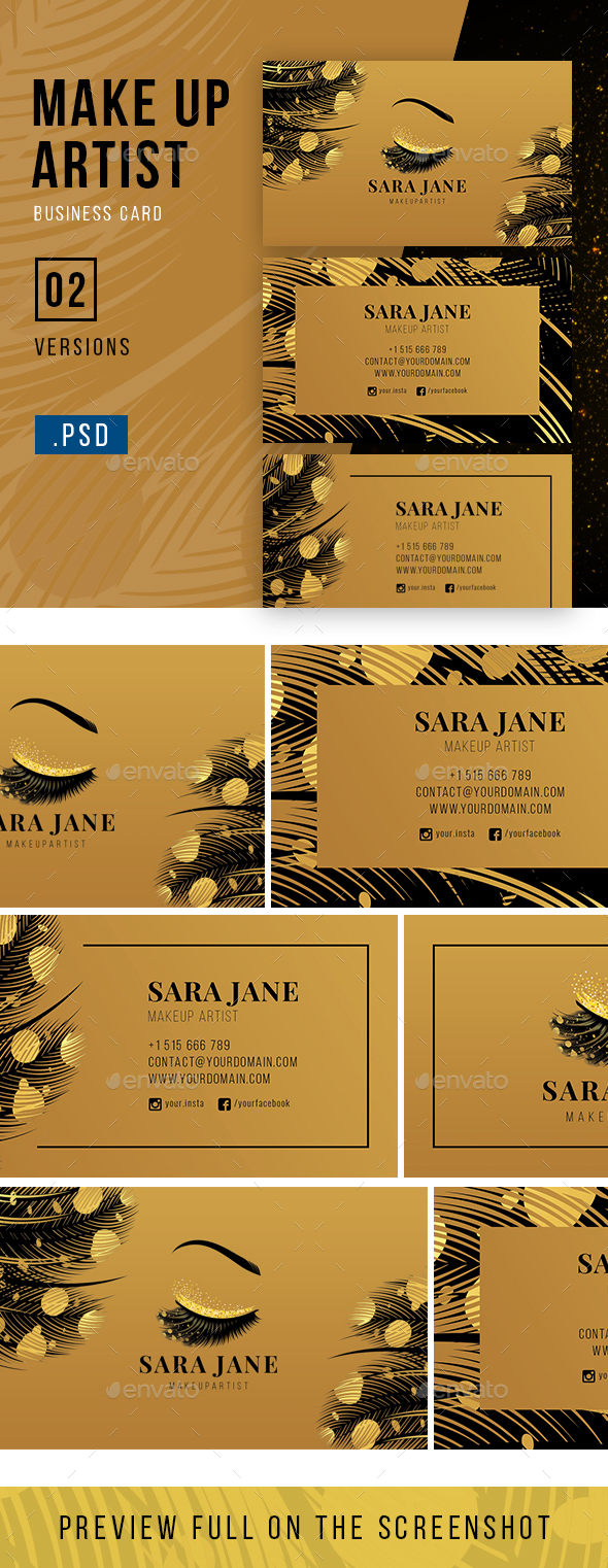 Luxury Makeup Artist Business Card - Industry Specific Business Cards