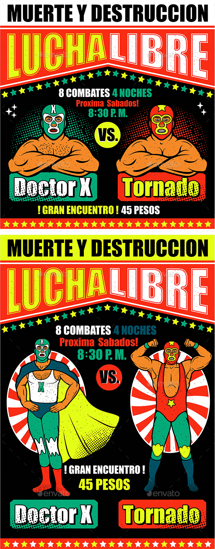 Lucha Libre Flyer Template - Sports/Activity Conceptual
