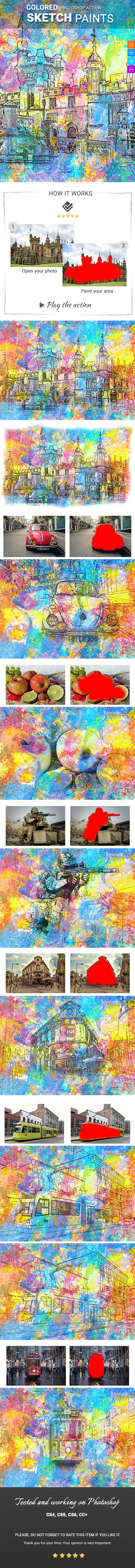 Coloured Sketch Paints Photoshop Action - Photo Effects Actions