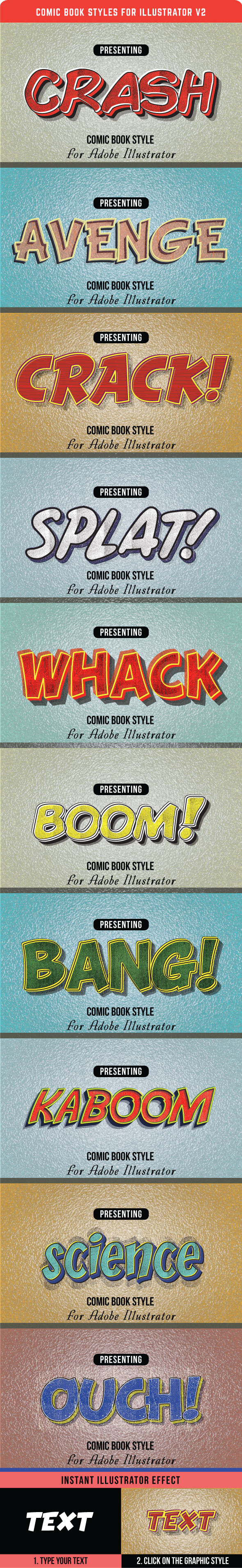 Comic Book Styles for Illustrator V2 - Styles Illustrator