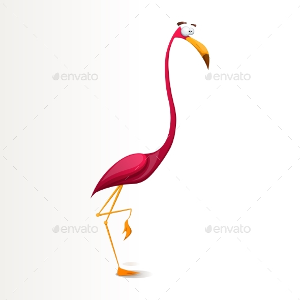 Cartoon Flamingo Character - Animals Characters