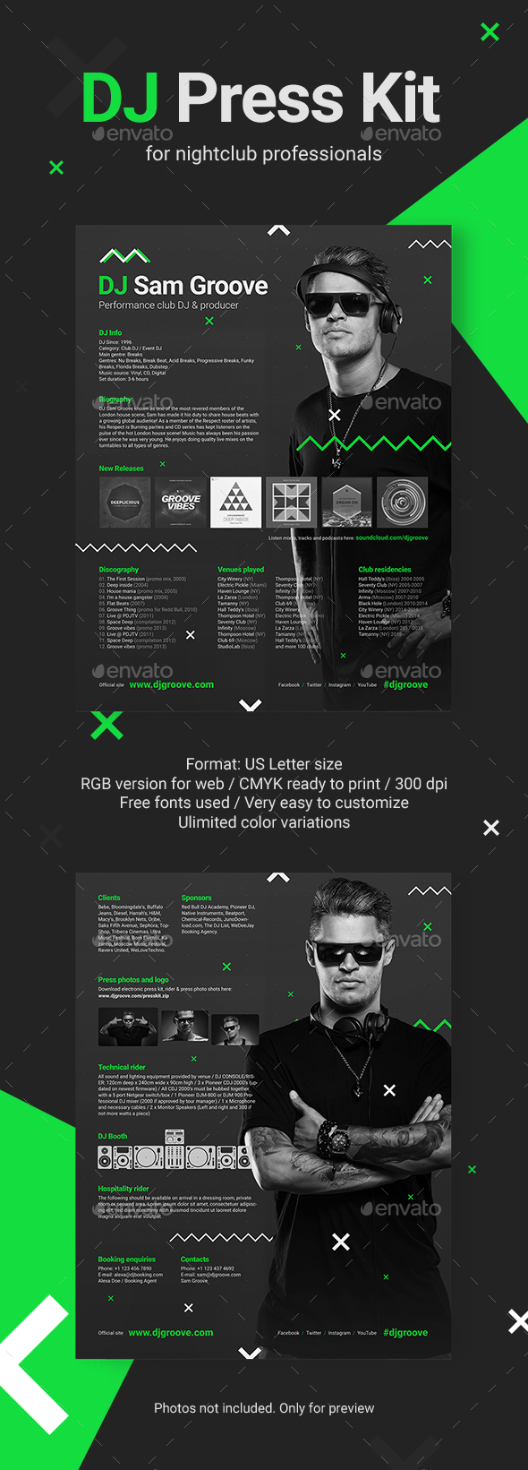 GrooveLine - DJ Press Kit / DJ Resume / DJ Rider PSD Template - Resumes Stationery