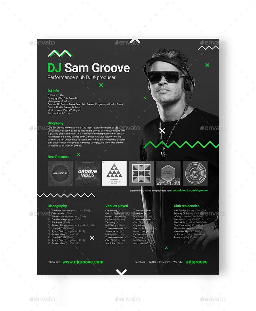 GrooveLine - DJ Press Kit / DJ Resume / DJ Rider PSD Template by ...