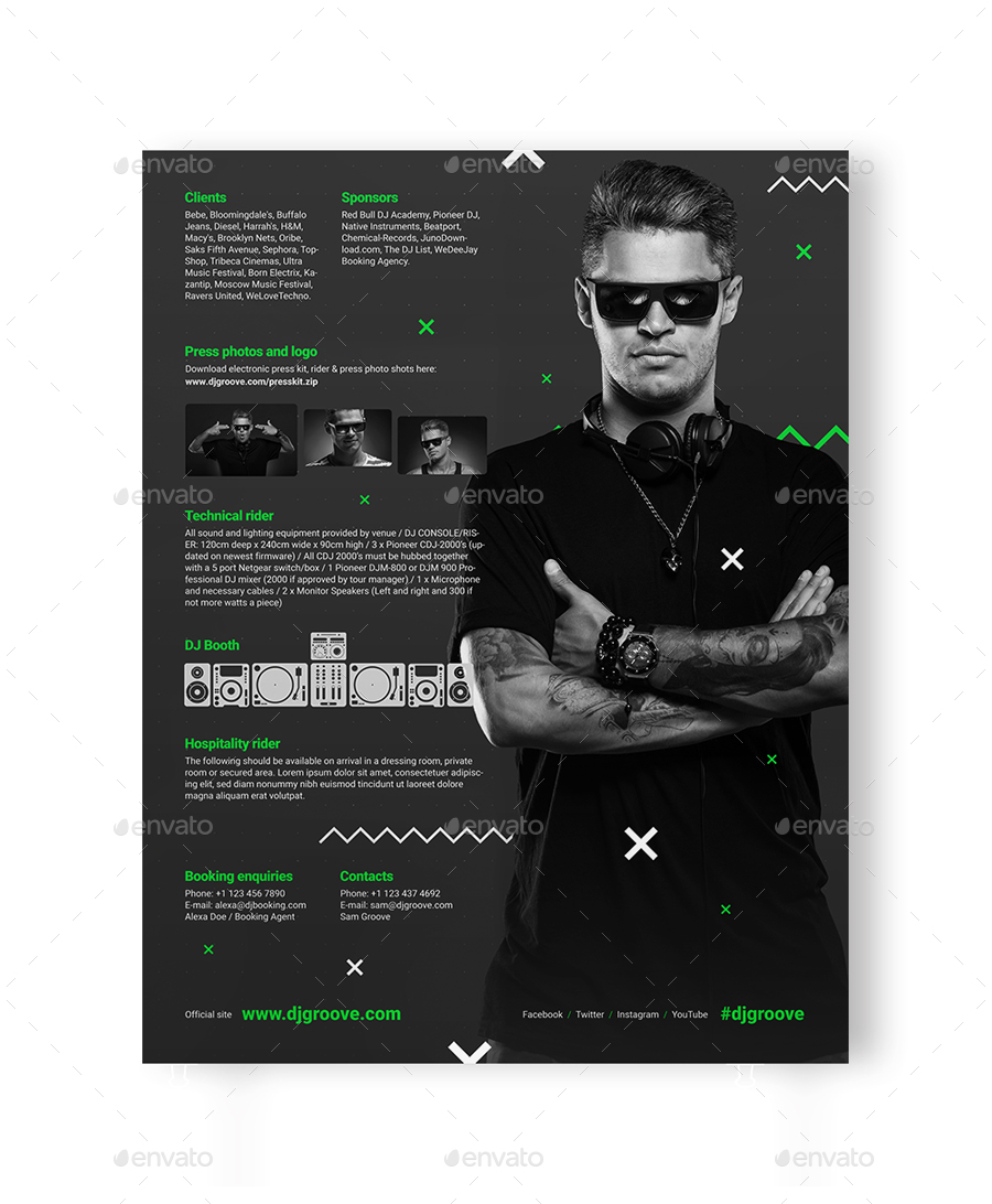 GrooveLine - DJ Press Kit / DJ Resume / DJ Rider PSD Template