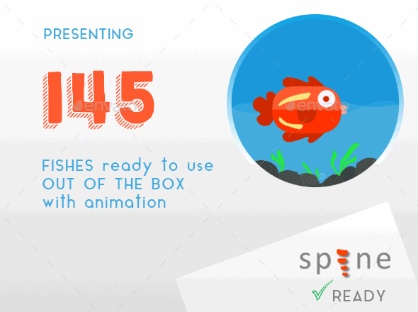 145 Animated Origami Fishes - Sprites Game Assets