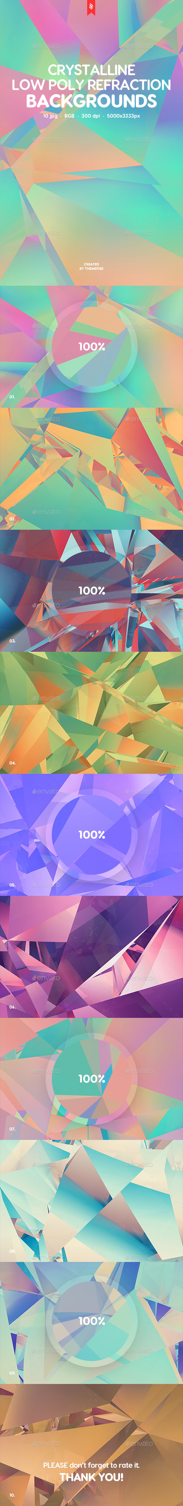 Crystalline Low Poly Refraction Backgrounds - Backgrounds Graphics