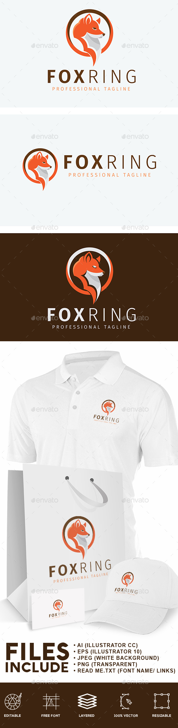 Fox Head Logo - Animals Logo Templates
