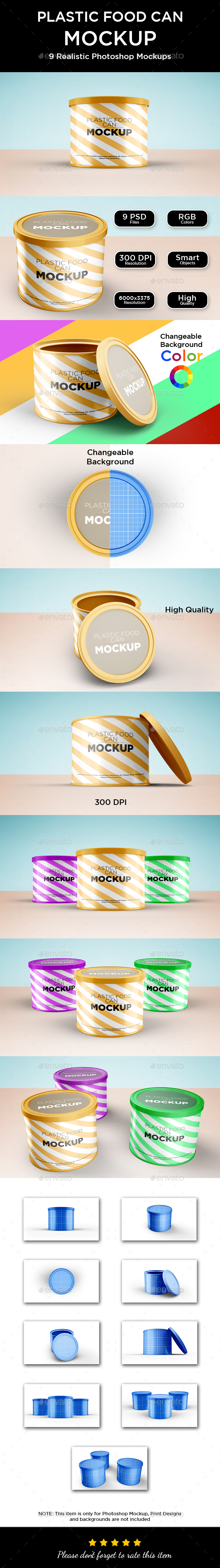 Plastic Food Can Mockup - Food and Drink Packaging