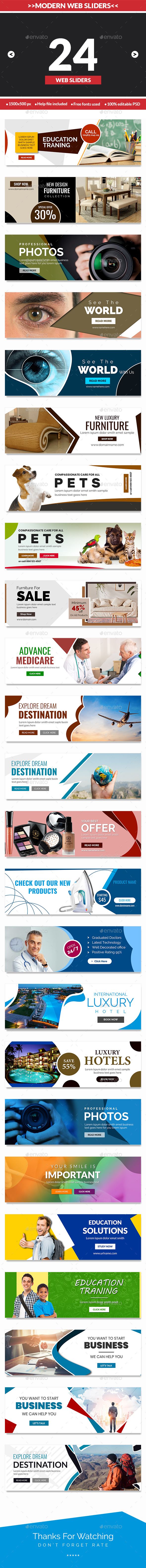Modern Multipurpose Web Sliders - 24 designs - Sliders & Features Web Elements