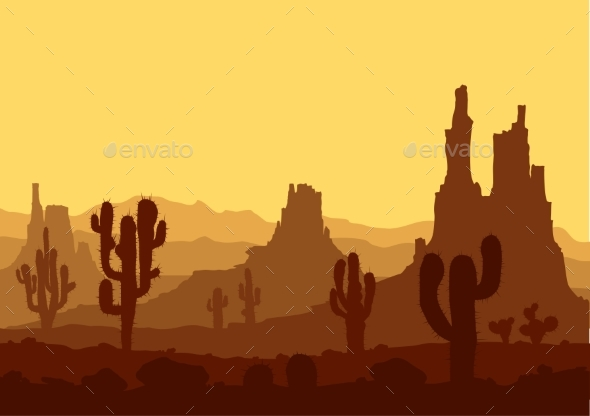 Sunset in Stone Desert with Cacti  - Landscapes Nature