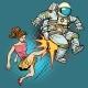 The Woman Kicks an Astronaut Family Quarrel