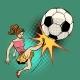 Woman Kicks a Soccer Ball