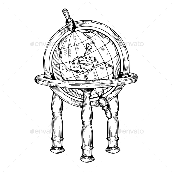 Vintage Globe Engraving Vector Illustration - Man-made Objects Objects