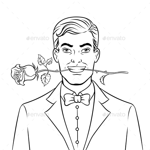 Man with Rose Flower Coloring Book Vector - Flowers & Plants Nature