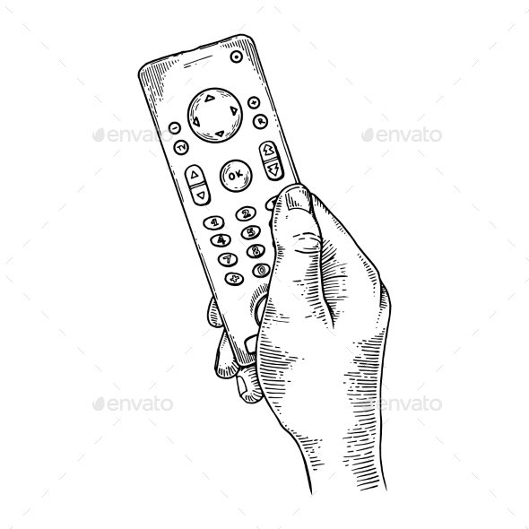 TV Remote Control Engraving Vector - Media Technology