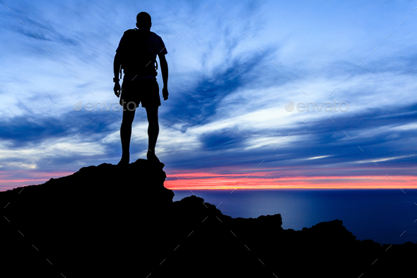 Motivation and freedom sunset silhouette - Stock Photo - Images
