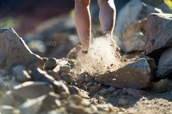 Walking or running legs, adventure and exercising - Stock Photo - Images