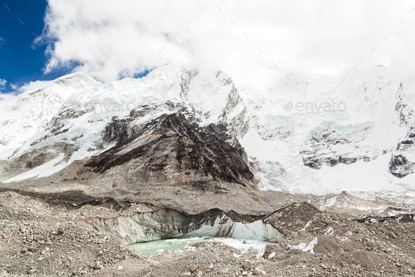 Himalaya mountains melting glaciers global warming climate chang - Stock Photo - Images