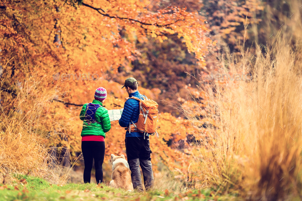 Vintage instagram couple hiking in autumn forest - Stock Photo - Images