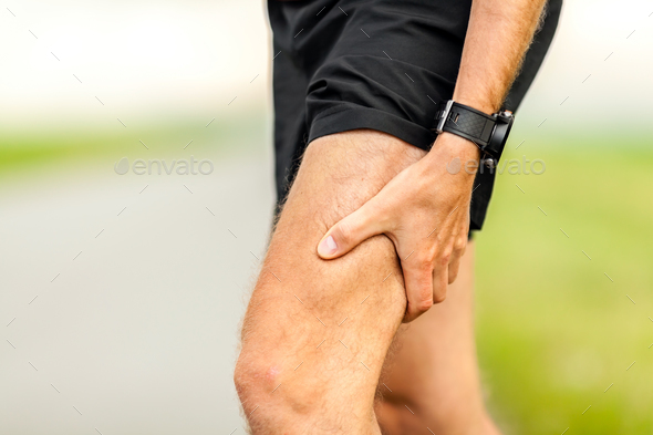 Painful injury, runners physical muscle pain - Stock Photo - Images