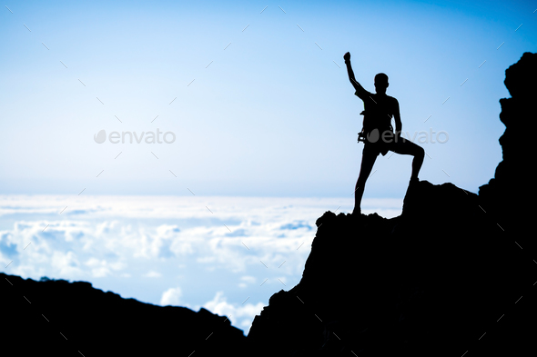 Hiking success, man hiker runner climber in mountains - Stock Photo - Images
