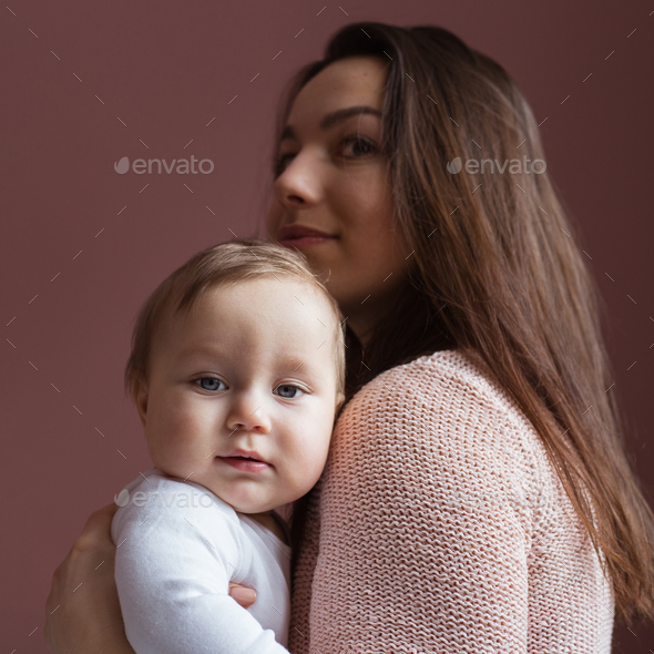 family, happy smiling young mother with little baby at home - Stock Photo - Images