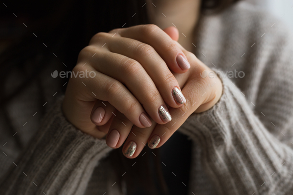 Female hands with manicure and pink polished nails - Stock Photo - Images