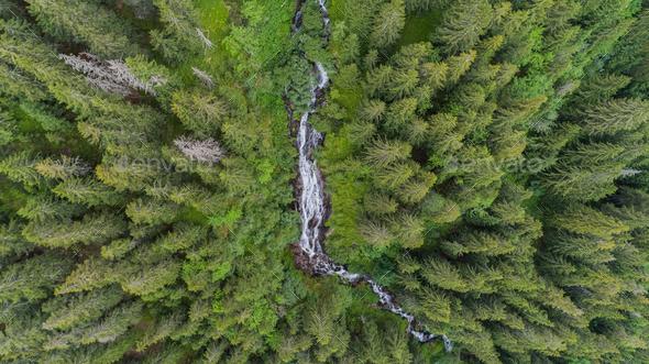 Waterfall Tumultuous (Cascada Zbuciumata). Fagaras Mountains, Romania - Stock Photo - Images