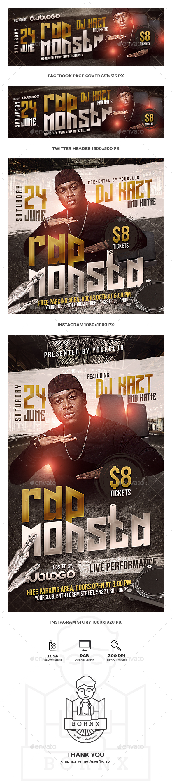 Rap Music Social Media Templates - Social Media Web Elements