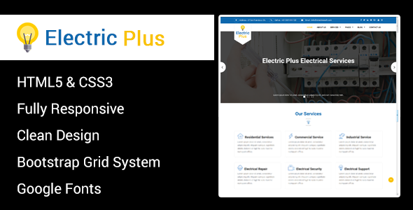 Image of Electric Plus - Electricity Services HTML5 Responsive Template