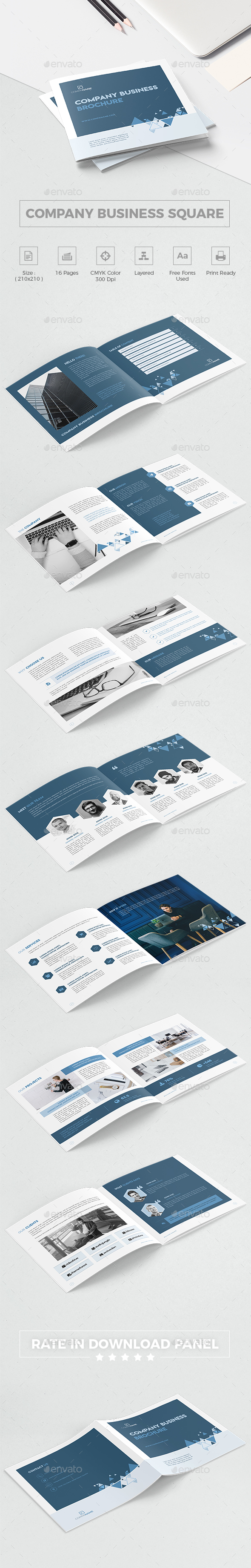 Company Business Square Brochure - Corporate Brochures