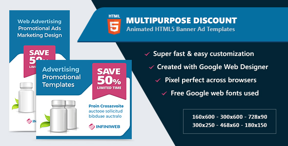 HTML5 Animated Banner Ads - Multipurpose Discount Offer (GWD) - CodeCanyon Item for Sale