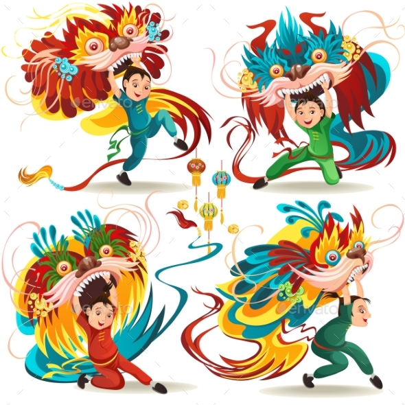 Chinese Lunar New Year Lion Dance Fight Isolated - People Characters